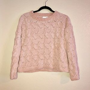 LC Blush Pink Semi Cropped Chenille Sweater